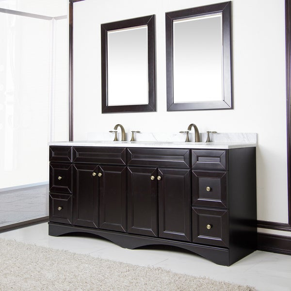 Shop corvus espresso cabinet with 72 inch italian carrera marble double sink vanity free for 72 inch bathroom vanity cabinet