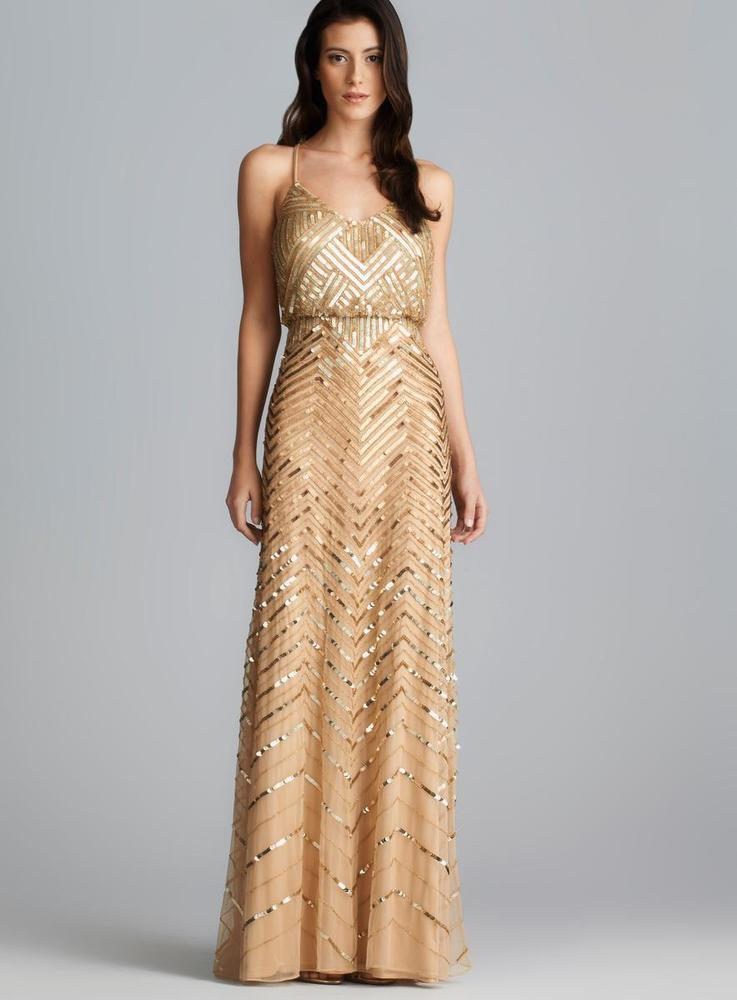 Adrianna Papell Cross Back Long Sequined Blouson Dress. Opens flyout.