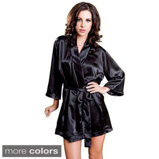 Shop Icollection Lingerie Women S Satin Robe And Sash