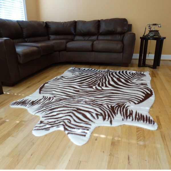 Zebra hide Brown and White Acrylic Fur Rug - 5'x7'
