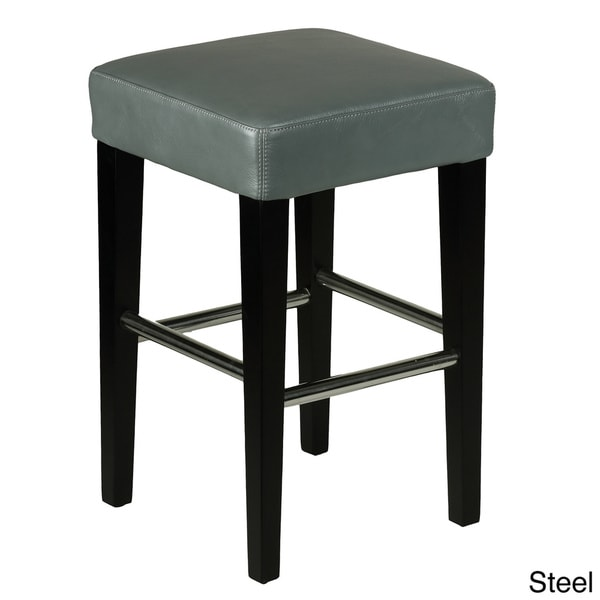 Ordinary Backless Leather Counter Stools Part - 6: 24-inch Backless Counter High Stool In Genuine Leather - Free Shipping  Today - Overstock.com - 15590957