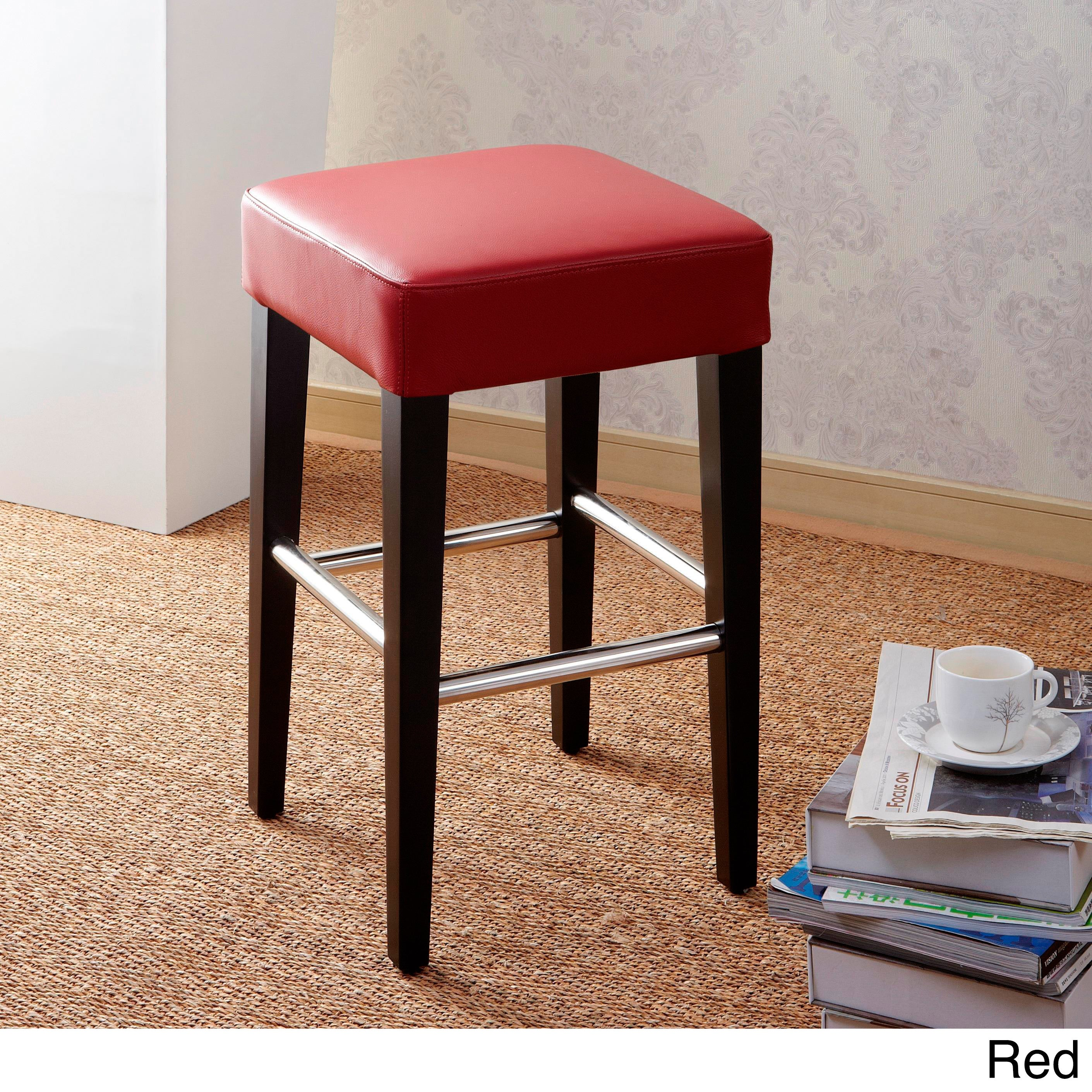 Brilliant 24 Inch Backless Counter High Stool In Genuine Leather Cjindustries Chair Design For Home Cjindustriesco