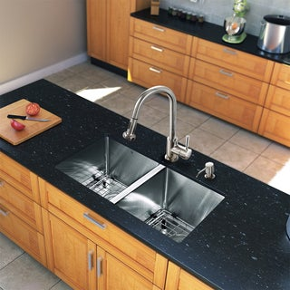 VIGO All-in-One 29-inch Stainless Steel Undermount Kitchen Sink and Harrison Chrome Faucet Set