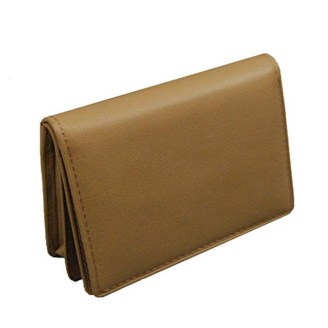 Castello Beige Leather Mid-flap Card Case Wallet