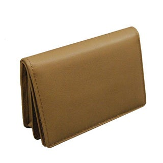 Castello Beige Leather Mid-flap Card Case Wallet