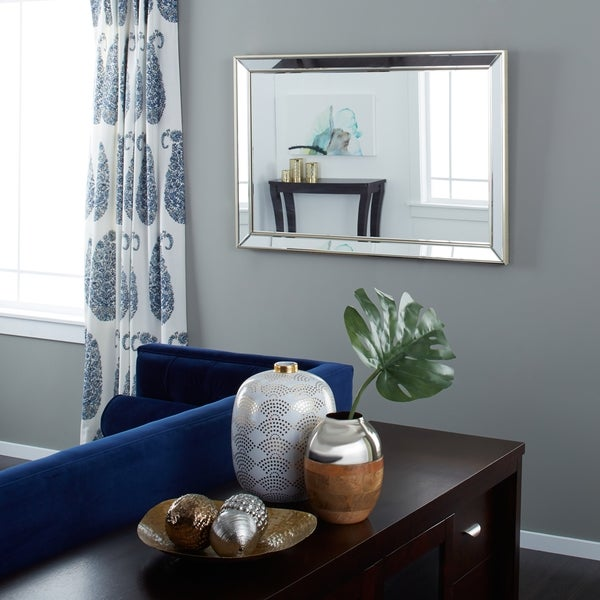 Wall Mirrors For Living Rooms. Abbyson Living Ariel Mirrored Frame Rectangle Wall Mirror with Gold Trim
