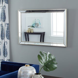Abbyson Living Ariel Mirrored Frame Rectangle Wall Mirror with Gold Trim