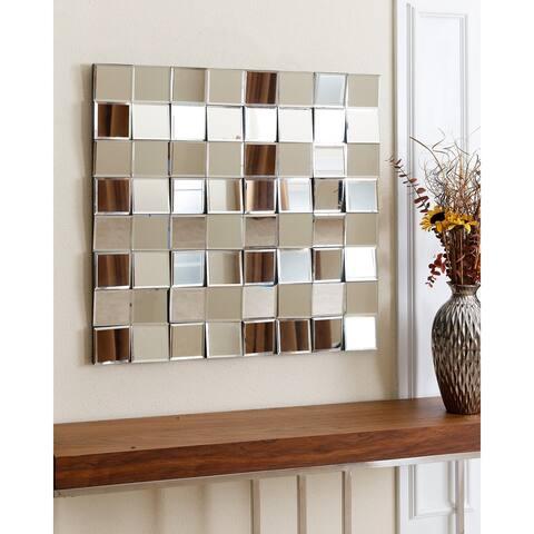 Abbyson Isabella Modern Silver Square Wall Mirror
