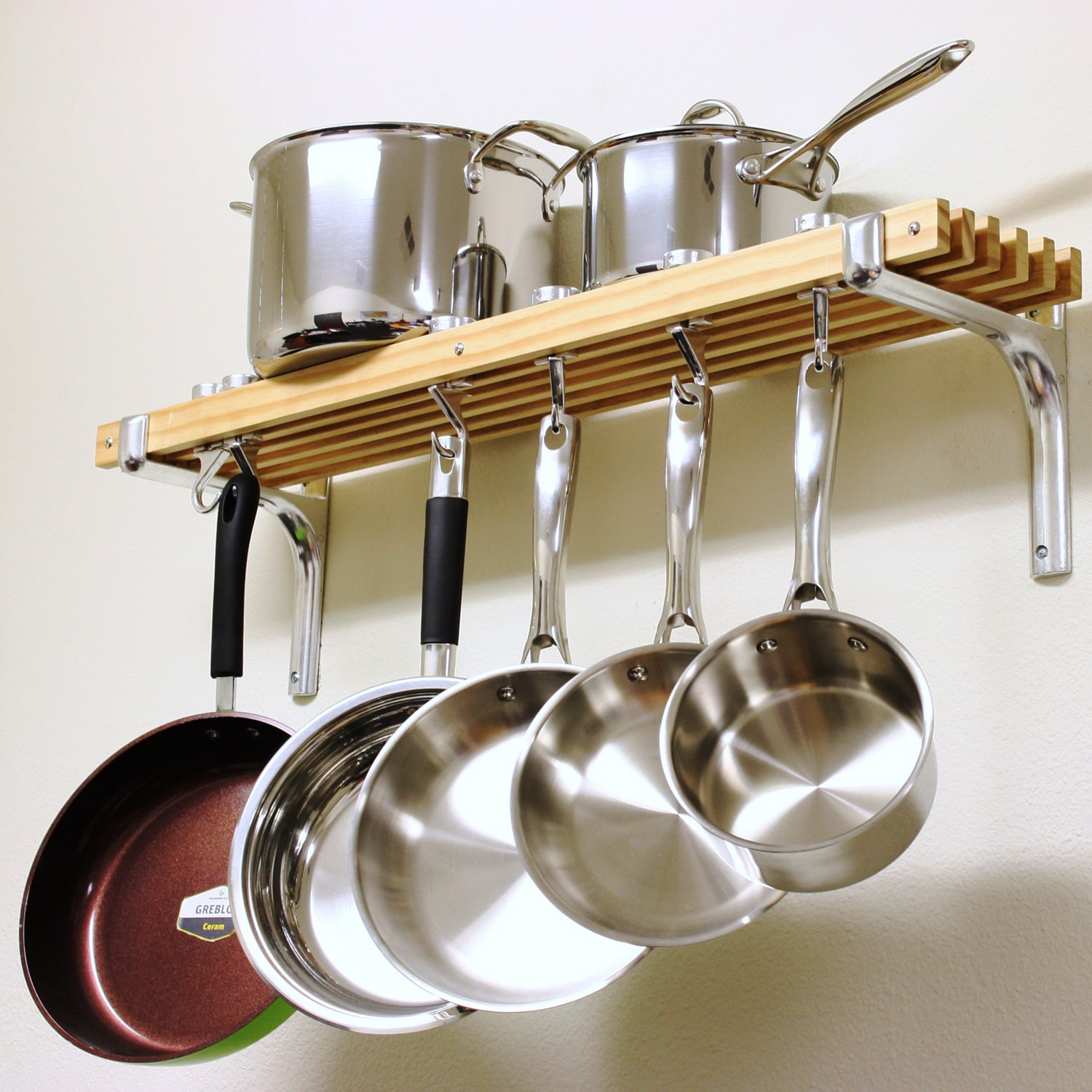 Wooden Pot Rack Kitchen Wall Mounted Cooks Hanging Pan Storage Dish Cookware Bar