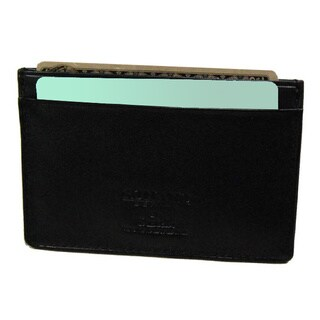 Castello Black Leather Slim Cardholder Wallet