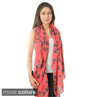 LA77 Crinkle-woven Sparrow Print Scarf