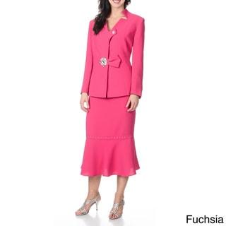 Giovanna Signature Women's Washable Rhinestone Embellished Skirt Suit