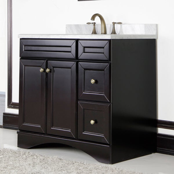 Made to order bathroom cabinets - Carrera By Corvus Premium Italian Marble Top 36 Inch