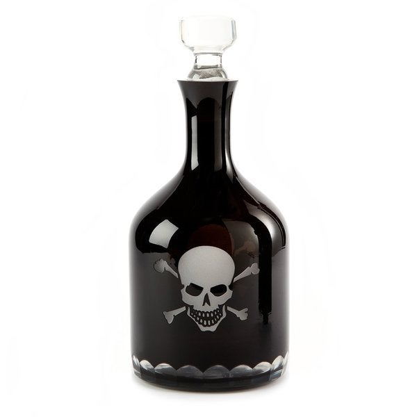 "12"" Skull & Crossbones Etched Glass Decanter"