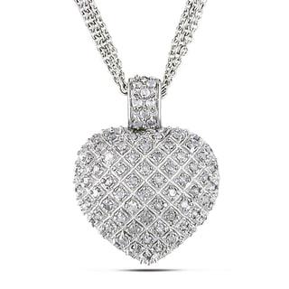 Miadora Sterling Silver 1ct TDW Diamond Heart Triple-strand Drop Necklace (H-I, I2-I3)