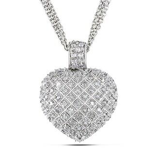 Miadora Sterling Silver 1ct TDW Diamond Heart Triple-strand Drop Necklace