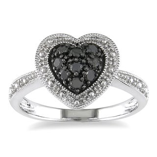 Miadora Sterling Silver 1/4ct TDW Round-cut Black Diamond Heart Ring