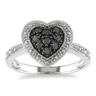 Miadora Sterling Silver 1/4ct TDW Round-cut Black Diamond Heart Ring