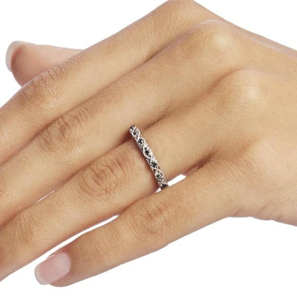 Miadora 10k White Gold 1/8ct TDW Black Diamond Stackable Wedding Band Ring. Opens flyout.