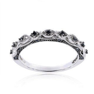 Miadora 10k White Gold 1/8ct TDW Black Diamond Stackable Wedding Band Ring (More options available)