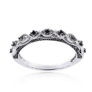 Miadora 10k White Gold 1/8ct TDW Black Diamond Stackable Wedding Band Ring