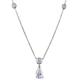 Miadora Signature Collection 14k Gold 1 7/8ct TDW Certified Diamond Station Necklace (G-H, SI2-I1, IGI)