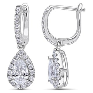 Miadora Signature Collection Certified 14k Gold 1 2/5ct TDW Diamond Pear Shape Earrings (F-G, SI1-SI2)