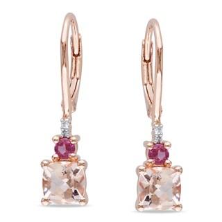 Miadora Rose Plated Silver Morganite, Tourmaline and Diamond Earrings