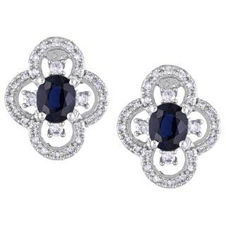 Miadora 10k White Gold Sapphire and 1/4ct TDW Diamond Earrings (G-H, I1-I2)