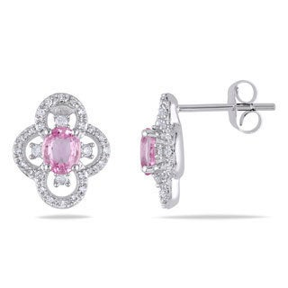 Miadora 10k White Gold Pink Sapphire and 1/4ct TDW Diamond Earrings (G-H, I1-I2)