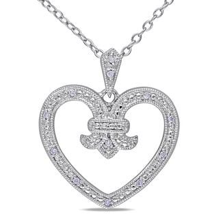 Miadora Sterling Silver Diamond Open Heart Necklace