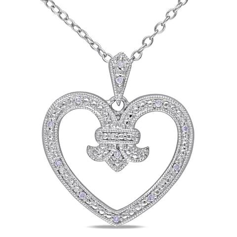 Miadora Sterling Silver Diamond Open Heart Necklace