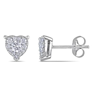 Miadora 14k White Gold 1/2ct TDW Diamond Heart Earrings