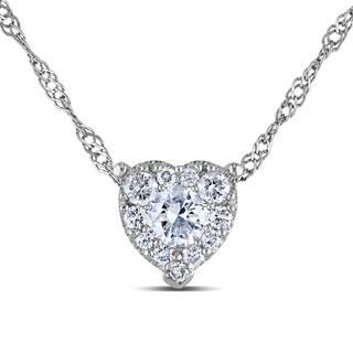 Miadora 14k White Gold 1/4ct TDW Diamond Heart Necklace (G-H, I1-I2)