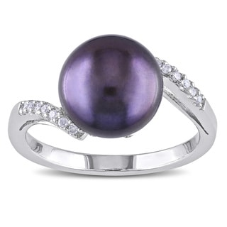 Miadora Sterling Silver Black Cultured Freshwater Pearl and Diamond Ring (9.5-10 mm)