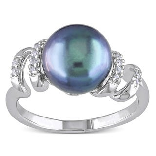 Miadora Sterling Silver Freshwater Black Pearl and Round-cut Diamond Ring (9.5-10 mm)