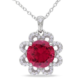Miadora Sterling Silver Created Ruby And White Topaz Flower Necklace