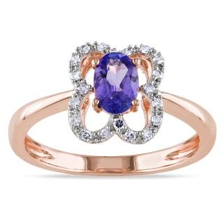 Miadora 10k Rose Gold Tanzanite and 1/10ct TDW Diamond Ring (G-H, I1-I2)