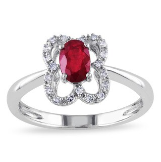 Miadora 10k White Gold Ruby and 1/10ct TDW Diamond Flower Ring (G-H, I1-I2)