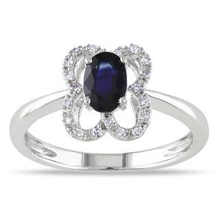 Miadora 10k White Gold Oval-cut Sapphire and 1/10ct TDW Diamond Ring (G-H, I1-I2)