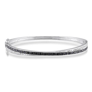 Miadora Sterling Silver 1/4ct TDW Black Diamond Bangle