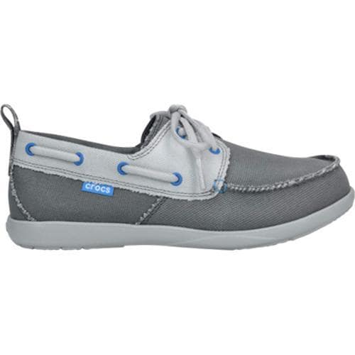 Men S Crocs Walu Canvas Deck Shoe Charcoal Light Grey