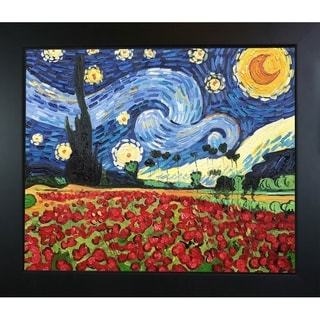 La Pastiche Original 'Starry Poppies Collage' Hand-painted Framed Canvas Art