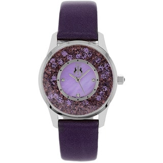 Jivago Women's Brilliance Purple Leather Strap Watch