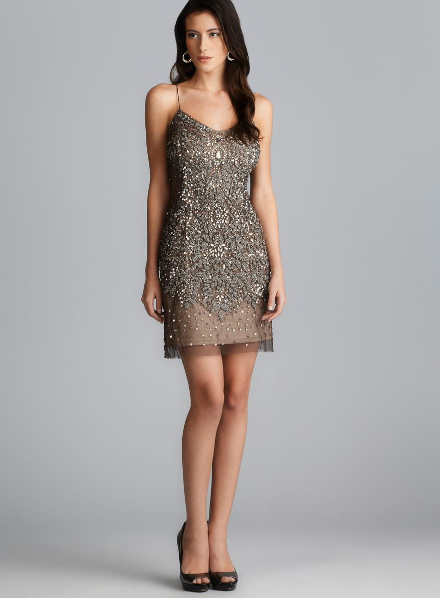 Adrianna Papell Beaded & Sequined Mesh Spaghetti Strap ...