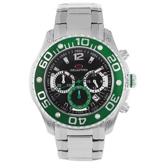 Seapro Men's Celtic Chronograph Watch with Black Dial and Green Markers
