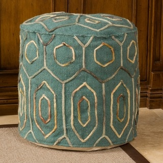 Kaia Teal Wool Embroidered Pouf by Christopher Knight Home