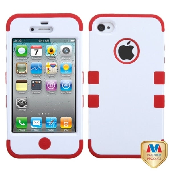 INSTEN Ivory White/ Red TUFF Hybrid Phone Case Cover for Apple iPhone 4S/ 4