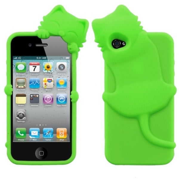 INSTEN Electric Green Cat Peeking Pet Skin Phone Case Cover for Apple iPhone 4/ 4S