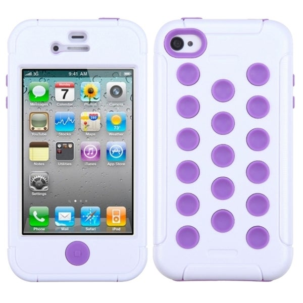 INSTEN White/ Electric Purple TUFF Hybrid Phone Case Cover for Apple iPhone 4S/ 4